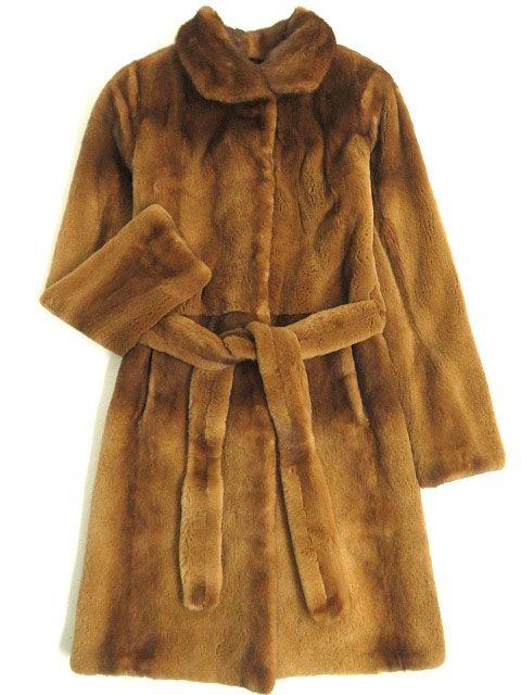 【中古】極美品▼COLE HAAN MINK コールハーン シェアードミンク 裏地シルク100% ベルト付き 本毛皮セミロングコート ライトブラウン XXS