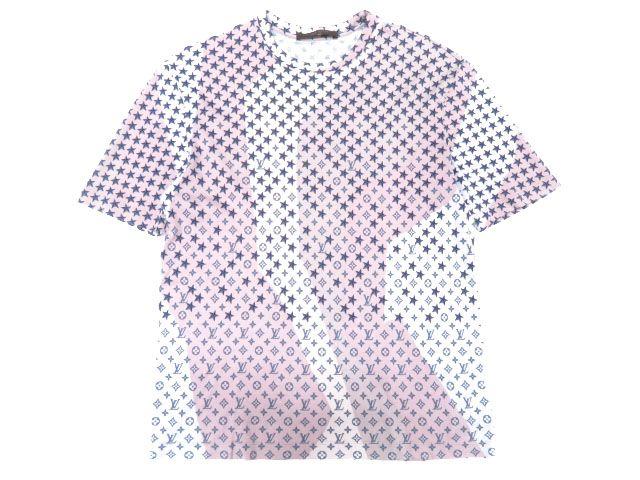 【中古】美品▼LOUIS VUITTON ルイヴィトン M R PK03 PHS モノグラムスター 半袖 Tシャツ ピンク系 S イタリア製 正規品