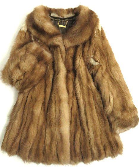 【中古】美品▼ストーンマーティン 裏地ロゴ柄 本毛皮コート ブラウン 毛質艶やか・柔らか◎