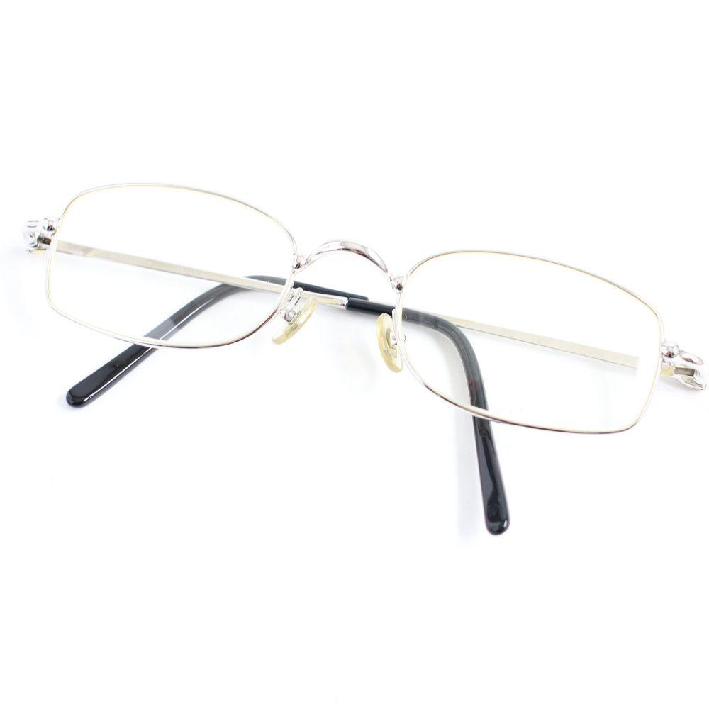 【中古】美品▽Cartier カルティエ 135 メガネ/アイウェア 度あり シルバー×ブラック 49□21 フランス製 メンズ レディース