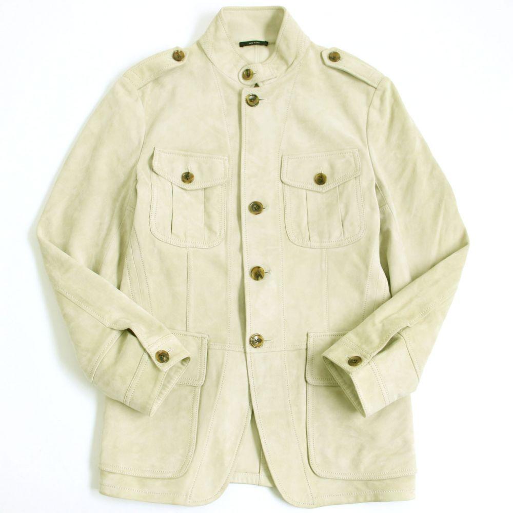【中古】良品▽TOMFORD トムフォード TFL502 ラムレザージャケット アイボリー 50 イタリア製 正規品 メンズ