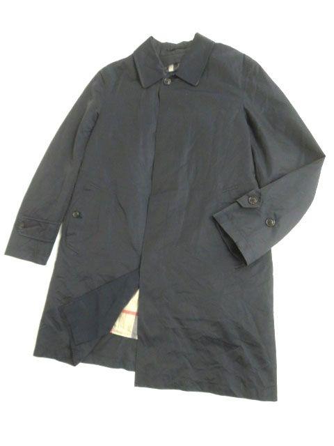 【中古】美品▽バーバリーロンドン ノバチェック柄 中綿入りライナー付き ステンカラーコート/ロングコート ネイビー L 正規品