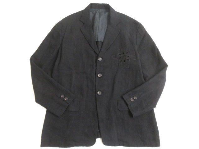 【中古】美品▽ヨウジヤマモト プールオム 名作 リネン100% ヴィンテージ カットワークジャケット ブラック S