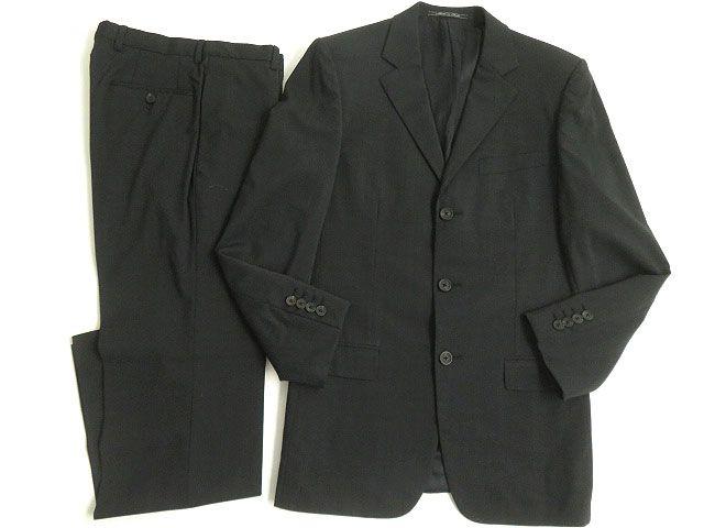 【中古】極美品△GUCCI グッチ ウール97% ロゴボタン シングルスーツ 上下セット ダークグレー 44 イタリア製 正規品