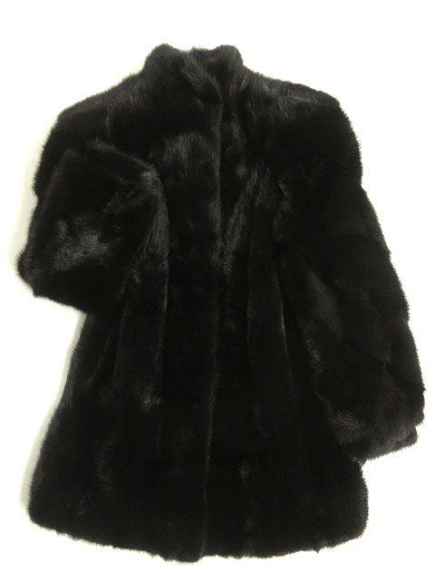 【中古】美品▼MINK ミンク 逆毛 本毛皮コート ブラック 毛質艶やか・柔らか◎