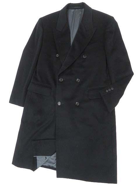 【中古】美品▼LANVIN CLASSIQUE ランバンクラシック カシミヤ100% ダブルチェスターコート ブラック R50-46 正規品 シンプルなデザイン◎