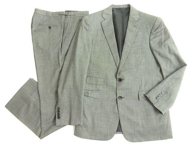 【中古】美品▽ラルフローレン パープルレーベル シングルスーツ グレー 38S イタリア製 ハンガー付き ビジネスシーン◎