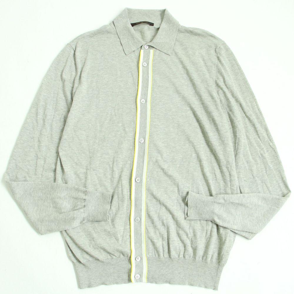 【中古】美品◆LOUIS VUITTON ルイヴィトン LV刺繍入り コットン100% 長袖 ニット/セーター グレー S 正規品 イタリア製 メンズ
