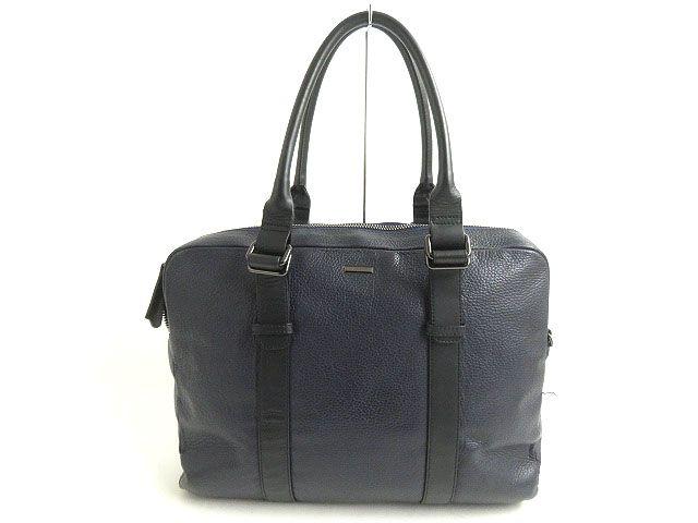 【中古】良品◎ZANELLATO ザネラート FREDO オールレザー ブリーフケース/ビジネスバッグ ネイビー イタリア製 保存袋付 ビジネスオススメ◎