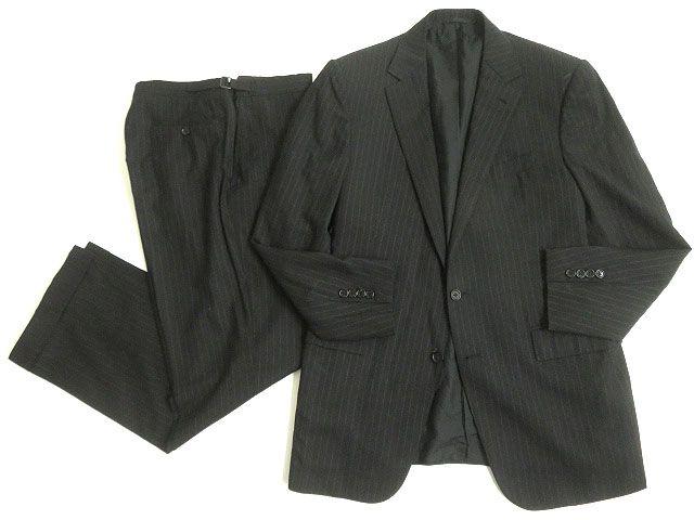 【中古】良品◎ラルフローレン パープルレーベル ストライプ柄 ジャケット+パンツ 上下セットアップ ブラック 40R/34 イタリア製 ハンガー付