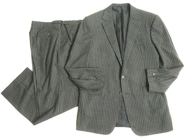 【中古】極美品◎ラルフローレン パープルレーベル ストライプ柄 ジャケット+パンツ 上下セットアップ グレー 40R/34 イタリア製 ハンガー付