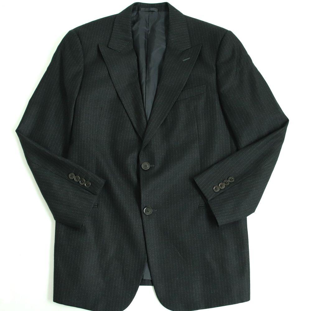 【中古】極美品□アルマーニコレツィオーニ ストライプ柄 シルク混 シングル テーラードジャケット 52R ブラック イタリア製 正規品