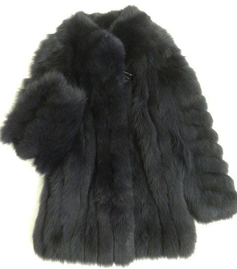 【中古】美品▼MITSUKOSHI FOX 三越 フォックス 本毛皮コート ネイビー ボリューム◎