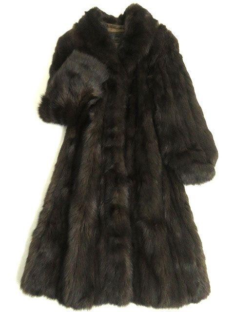 【中古】美品▼SOBOL SABLE ソボル ロシアンセーブル 本毛皮 超ロングコート 大きめサイズ15号 毛質艶やか・柔らか◎