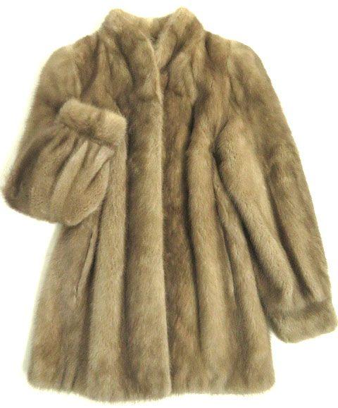 【中古】美品▼MINK サファイアミンク 本毛皮コート グレージュ 毛質艶やか・柔らか◎