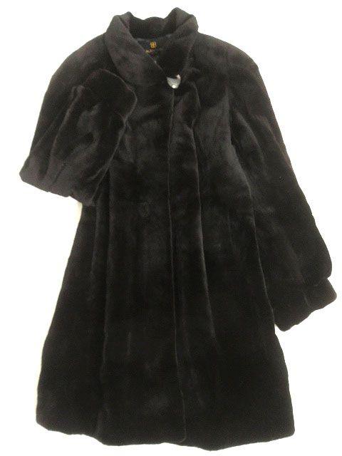 【中古】良品▼SAGA MINK サガシェアードミンク 裏地総柄 本毛皮コート ブラック F 毛質柔らか◎ レディース