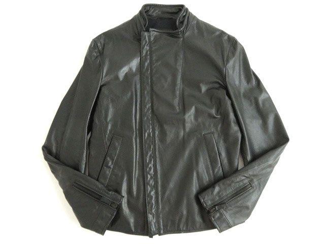 【中古】極美品●正規品 黒タグ エンポリオアルマーニ 2011年 シングル レザーライダースジャケット ブラック 48