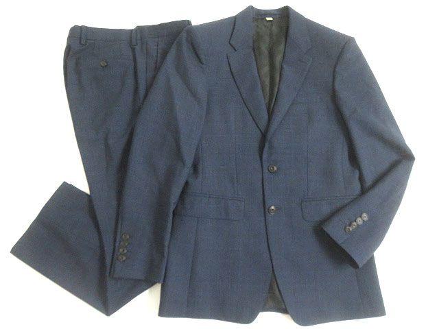 【中古】美品▽バーバリー チェック柄 シングルスーツ ネイビー 44R メンズ イタリア製 正規品 ビジネスシーンなど◎
