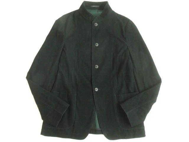 【中古】極美品▽アルマーニ ARMANI COLLEZIONI ロゴボタン付き スタンドカラー 格子柄 ジャケット ダークグリーン50 正規品