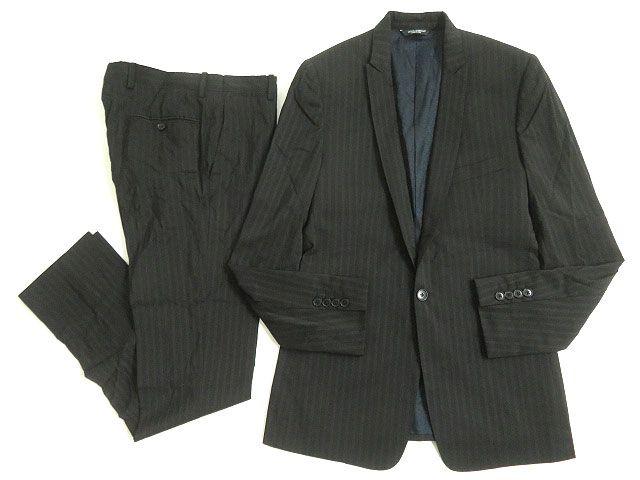 【中古】良品◎ドルチェ&ガッバーナ 黒タグ GOLD ストライプ柄 シングルスーツ ブラック 46 正規品 伊製 ガーメント付 ビジネスシーン◎ メンズ