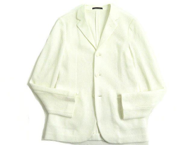 【中古】良品◎エンポリオアルマーニ 黒タグ ROBERT LINE シングルタイプ メッシュ地 アンコンジャケット ホワイト 46 正規品 イタリア製 メンズ