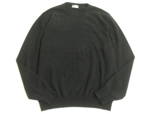 【中古】美品▽Dior HOMME ディオール オム 763M646AT405 カシミヤ混 長袖 ニット/セーター ブラック L イタリア製 正規品