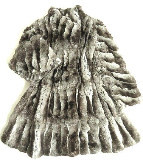 【中古】訳有り▼EMPRESS エンプレス チンチラ 本毛皮ロングコート グレー 毛質超柔らか◎