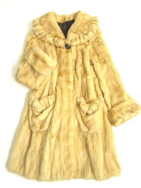 【中古】極美品▼アメリカンウルトラ ファーアワード 5つ星 MINK ゴールデンミンク 本毛皮ロングコート ゴールドブラウン Fサイズ 毛質柔らか◎