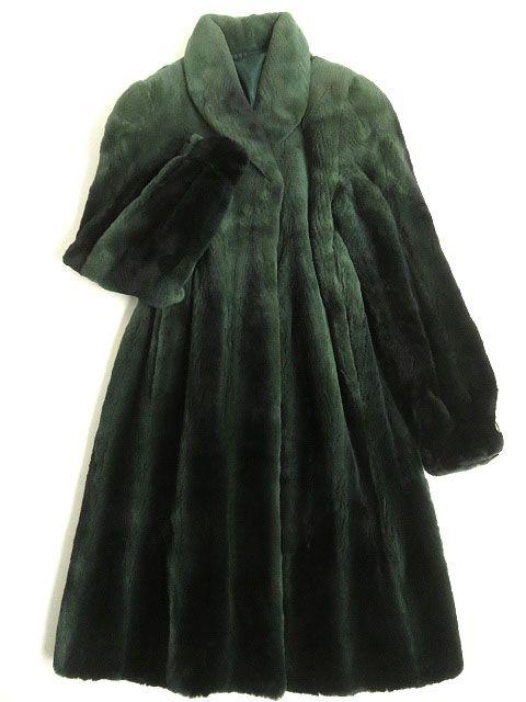 【中古】美品▼SAGA MINK サガシェアードミンク グラデーション 本毛ロングコート レアカラー(グリーン) Fサイズ 毛質柔らか◎