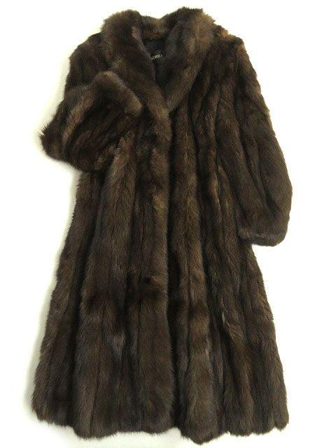 【中古】美品▼SABLE ロシアンセーブル 本毛皮超ロングコート ダークブラウン 毛質艶やか柔らか・ボリューム◎