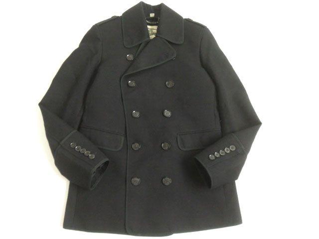 【中古】美品▽バーバリーロンドン ロゴボタン付き Pコート/ピーコート ブラック 48 正規品 シンプルなデザイン◎ メンズ