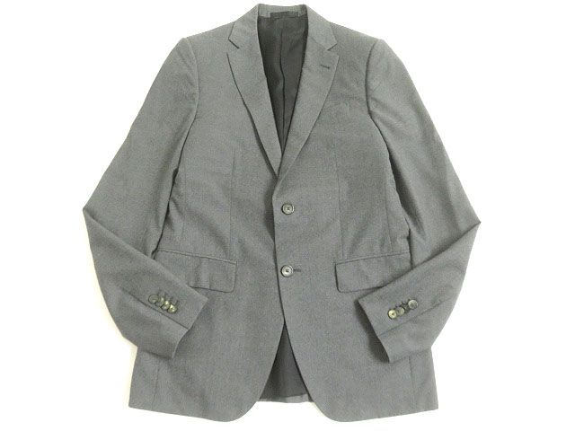【中古】美品▽LOUIS VUITTON ルイヴィトン SUPERFINE150's生地使用 シングルジャケット グレー 46 イタリア製 正規品 ビジネス◎ メンズ
