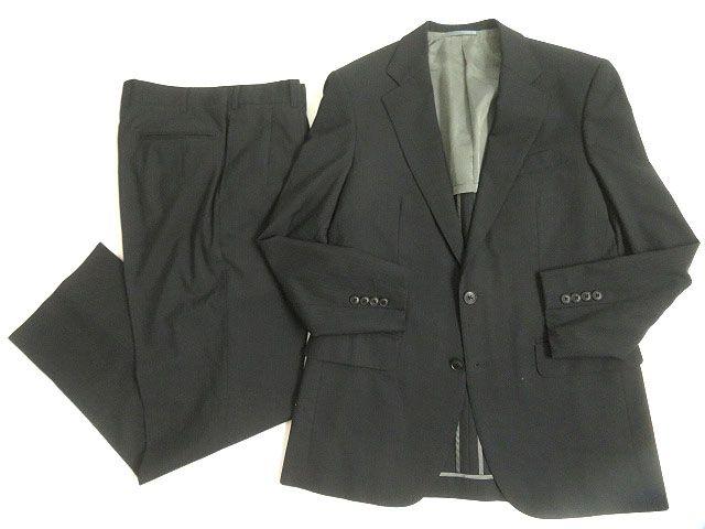 【中古】美品◆バーバリーロンドン Super120`s生地使用 ストライプ柄 シングルスーツ ブラック 92-80-170 A5 正規品 日本製 メンズ