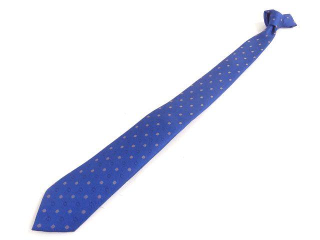 未使用品◆グッチ GUCCI 444419 インターロッキングG GGロゴ シルク100% ネクタイ ブルー イタリア製 正規品 メンズ【中古】