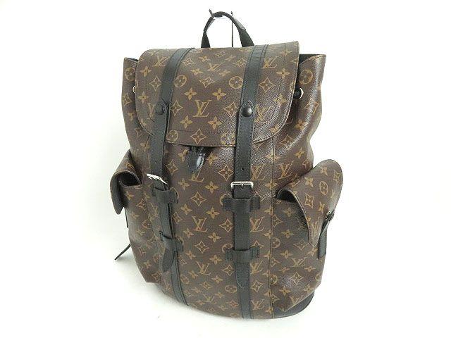 【中古】美品☆ルイヴィトン M43735 クリストファーPM モノグラムマカサー バックパック/リュックサック ブラウン フランス製 保存袋付