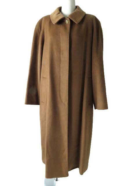 【中古】美品◎正規品 バーバリー ロンドン レディース ウール混カシミヤ 超ロングコート ブラウン 大きめサイズ 15ABR (46)シンプル◎