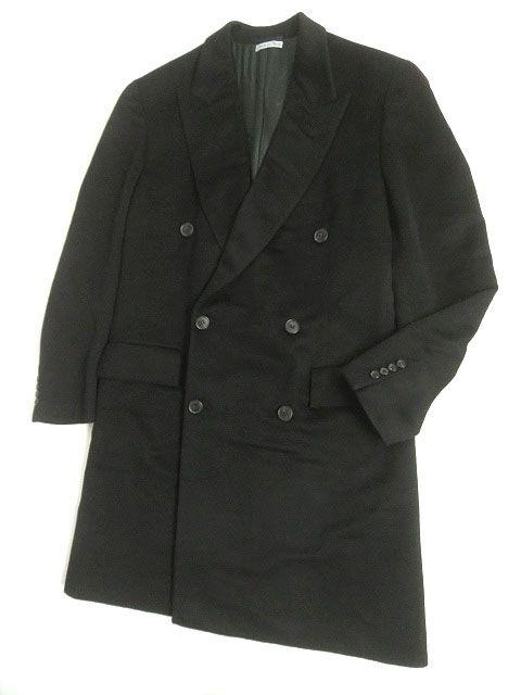 【中古】美品▽エルメス ピークドラペル Wタイプ カシミヤ100% チェスターコート/ロングコート ブラック 50 メンズ イタリア製 正規品