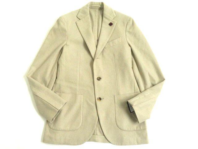 未使用品▽LARDINI ラルディーニ カシミヤ100% シングルジャケット ベージュ 44 メンズ イタリア製 正規品 タグ付き【中古】