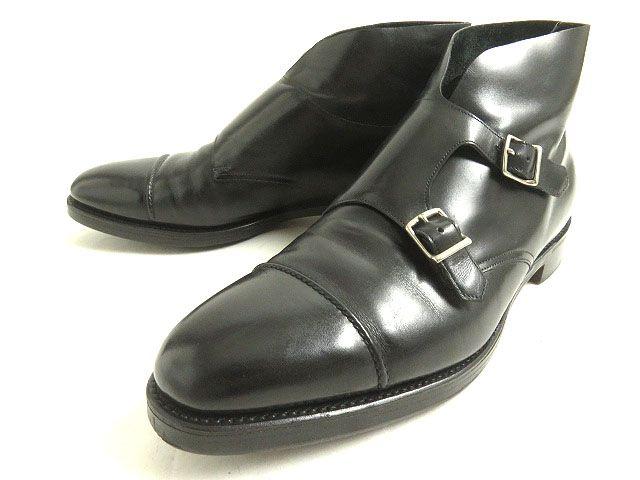 【中古】美品◆JOHN LOBB ジョンロブ ウィリアムII ダブルモンクストラップ レザーアンクルブーツ ブラック 10E イングランド製 メンズ