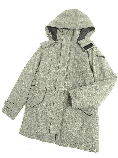 【中古】極美品◆ニューヨーカーバイケイタマルヤマ フード付き ボタン×ZIP ダウンジャケット グレー 44 正規品 メンズ 防寒性◎