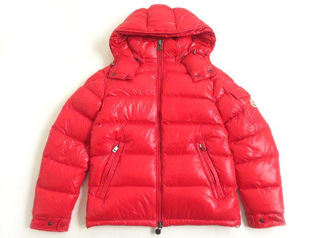 【中古】極美品▽2019~20年AW モンクレール マヤ MAYA フード・ロゴワッペン付き WZIPUP ダウンジャケット 赤 0 メンズ 国内正規品