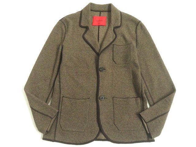 【中古】美品▽イザイア ロゴボタン付き レザー使い カシミヤ100% ニットジャケット ブラウン M メンズ イタリア製 正規品