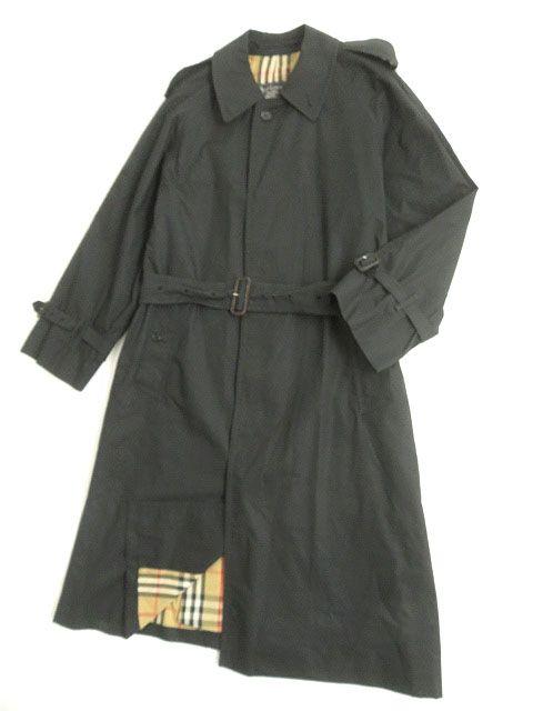 【中古】良品▽バーバリー 裏地ノバチェック柄 ベルト付き ステンカラーコート/シングルトレンチコート ブラック 42 イングランド製