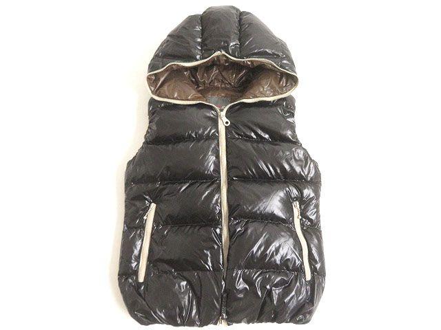 【中古】良品◆DUVETICA デュベティカ ZIPUP ダウンベスト ブラック 44 ブルガリア製 メンズ 防寒性◎