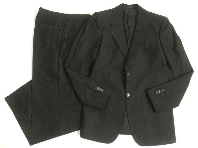 【中古】良品□黒タグ エンポリオアルマーニ シャドーストライプ柄 シングルスーツ 上下セット 50 ブラック イタリア製 正規品 メンズ