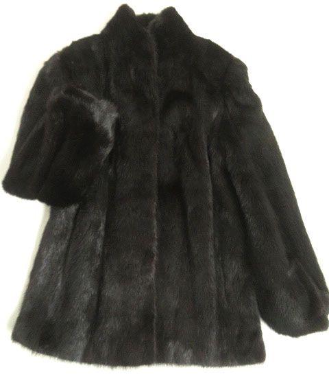 未使用品▼3 MINK ミンク 本毛皮コート ダークブラウン 大きめサイズ15号 毛質艶やか・柔らか◎ レディース【中古】