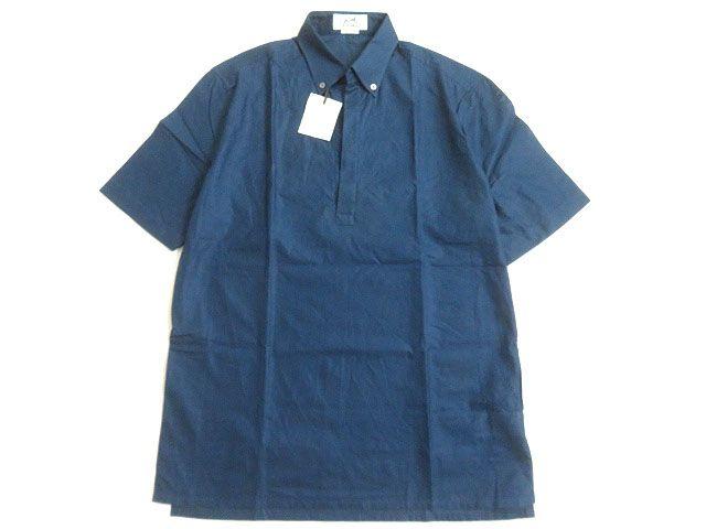 未使用品▽HERMES エルメス ボタンダウン スキッパー 半袖 シャツ ネイビー 14 1/2・37 メンズ フランス製 正規品【中古】