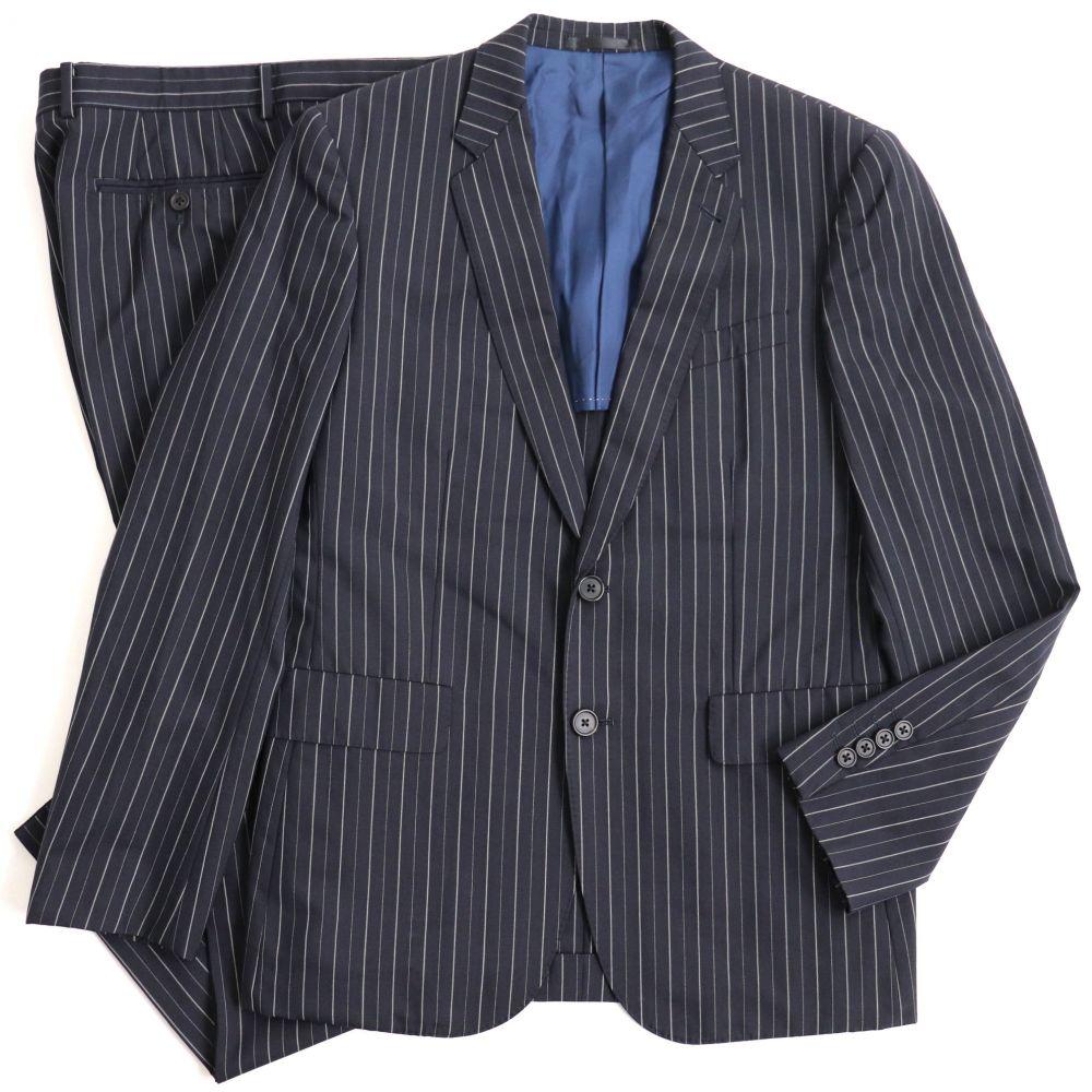 中古 良品 Paul Smith LONDON ポールスミス ストライプ柄 メンズ マーケティング モヘア混 シングルスーツ ビジネスシーンなど ネイビー L ブランド品 正規品