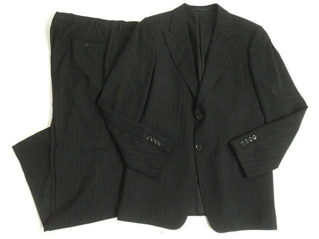 【中古】美品□ARMANI COLLEZIONI アルマーニコレツィオーニ ストライプ柄 シングルスーツ 上下セット 50 ブラック イタリア製 メンズ