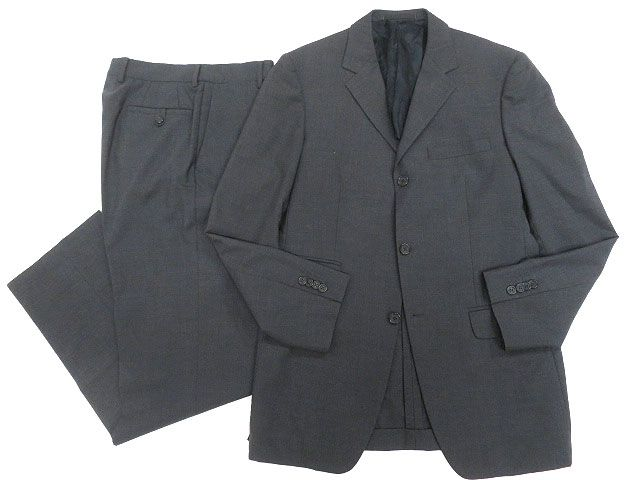 【中古】美品▼VERSACE COLLECTION ヴェルサーチコレクション SUPER100`s生地使用 シングルスーツ 48R ダークグレー 正規品